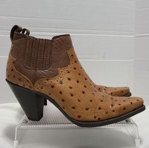 Twisted X embossed ostrich leather heel booties